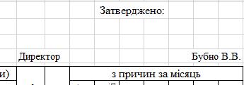 """Таблиця """"Затверджено"""""""