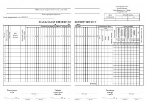 Табель обліку робочого часу П-5 однорядковий, формат 2 х А4 скорочений