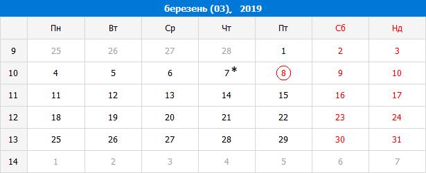 Виробничий календар на березень 2019 року