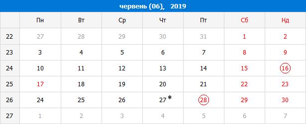 Виробничий календар на червень 2019 року