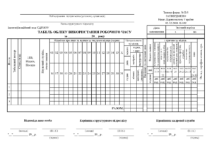 Табель обліку робочого часу П-5, формат А4 скорочений