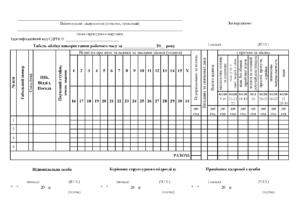 Табель обліку робочого часу П-5 (скорочений), формат А4 скорочений