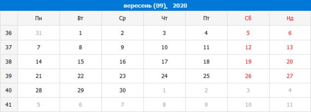 Виробничий календар на вересень 2020 року